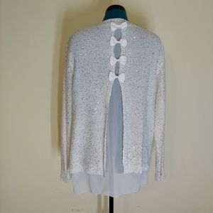 Simple Couture cream knit sequin bow back sweater